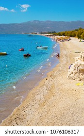 Samos island, Greece - September 13, 2017: Beautiful Potokaki beach on Samos Island in Greece