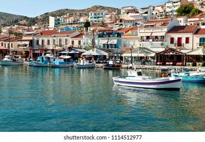 Samos Island, Greece - September 13, 2017 : Pythagoras the Samian at Pythagorion Port view in Samos Island. Samos Island is populer tourist destination in Greece.
