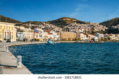 Samos island, Greece - September 15, 2017:Beautiful Vathy town on Samos island in Greece. Vathy is capital city of Samos
