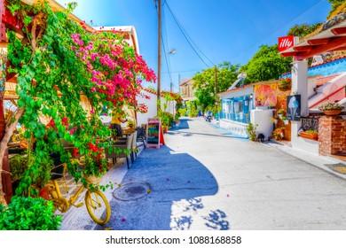 Samos Island, Greece - September 15, 2017 : PythagorionVillage street view in Samos Island. Samos Island is populer tourist destination in Aegean Sea.
