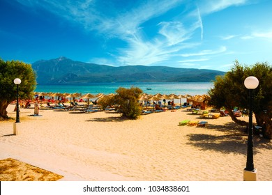 Samos island, Greece - September 20, 2017: Beautiful Psili Ammos beach, tourists enjoying a nice summer day on Samos Island in Greece