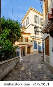 Samos town, Samos island, Greece - May 25, 2017: picturesque street in the village of Vathi with its traditional Greek houses