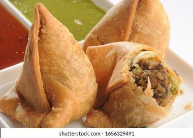 Samosa Indian snack / breakfast stuffed with potato