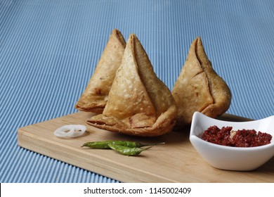 Samosa the North Indian or Indian food samosa or samosa with chutney or chutany