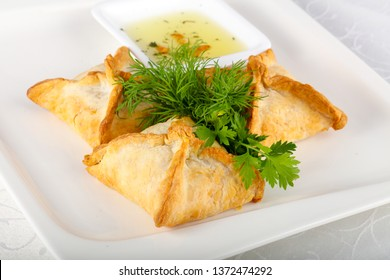Samosa pie with meat
