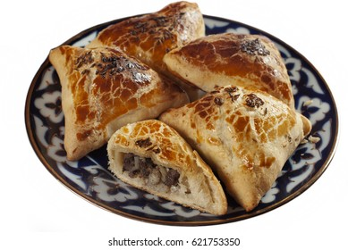 Samosa. Uzbek flatbread from wheat flour with minced meat