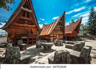 SAMOSIR, INDONESIA - September 3: Traditional Batak house on September 3, 2016 on Samosir island, Indonesia. the largest island within an island and the fifth largest lake island in the world.