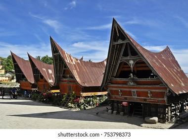 Samosir Island, Indonesia - 2 October 2016: Traditional Batak House.