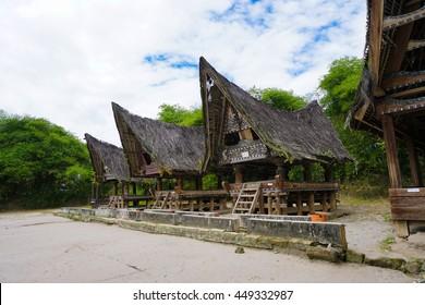 SAMOSIR ISLAND, NORTH SUMATRA INDONESIA - 22 JUNE 2016: Traditional batak-style houses at open air Huta Bolon Simanindo Batak Museum