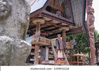 Samosir, North Sumatera/Indonesia-August 2018: Traditional Puppets, called Sigale-gale, at the village of Sialagan in Samosir Island. This traditional village is now become the tourist icon here.