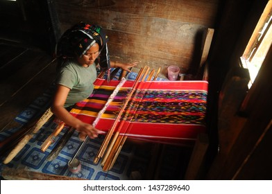 Samosir, North Sumatra - April 24, 2017: The Making Of Ulos (Ulos is Signatured Textile of Batak Culture) in Lumban Suhi-suhi Samosir Island, North Sumatra, Indonesia