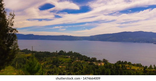 Samosir, North Sumatra, Indonesia, August 2019: a view of Lake Toba in North Sumatra from the hills on Samosir Island