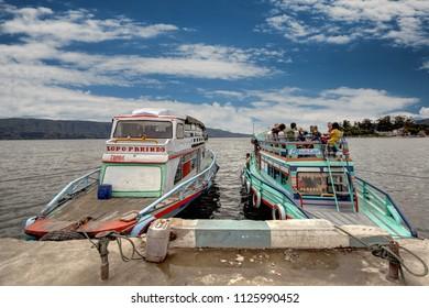 Samosir, North Sumatra / Indonesia - September 20 2011: Ferry Boat in Lake Toba, North Sumatra