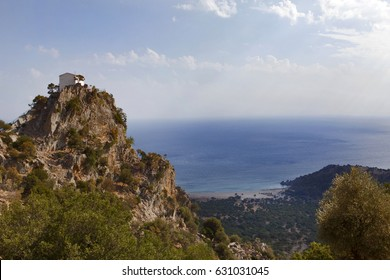 Samothrace island in Greece , Pahia Ammos beach , sandy and with a large trees. View from above.