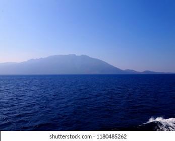 Samothraki Island, Greece. Background shadow in the distance