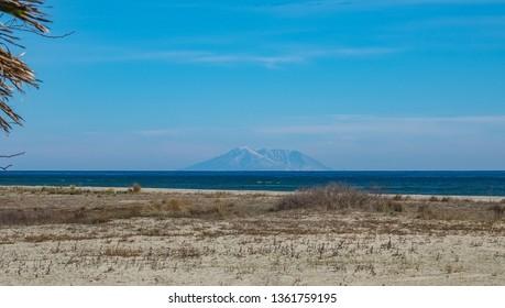 Samothraki view from Keramoti Greece Kavala
