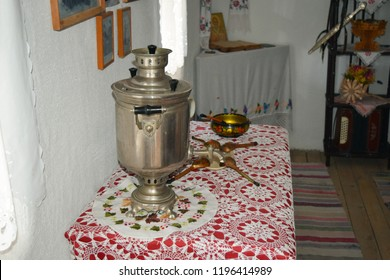 Samovar with bagels fabric. Museum samovar with decoration.