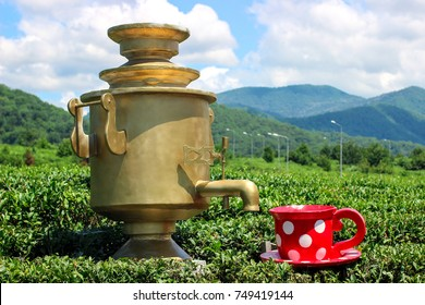 samovar and Cup, red Cup white peas, tea party on the nature, samovar and Cup in the form of sculptures, Golden samovar