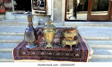Samovar. On a photo are represented a samovar, ecological clean dishes.
