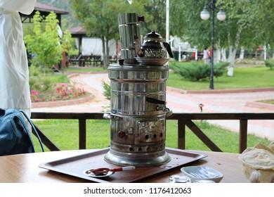 Samovar. Tea urn. Traditional turkish samovar tea. Metal samovar.