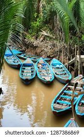 Sampan boats on canals on Con Lan  Island, near My Tho, Mekong Delta, Vietnam