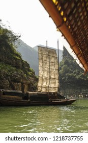 Sampan in Emerald Gorge on the Daning River, a tributary the Yangtze River, China