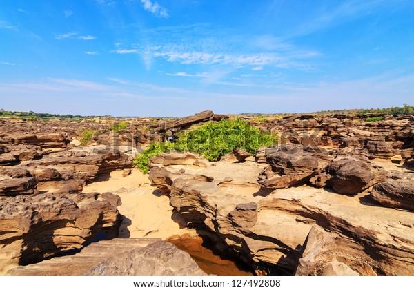 Sam-Pan-Bok Grand Canyon, Amazing of rock in Mekong river ,Ubonratchathani, Thailand.
