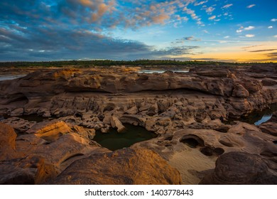 Sampanbok Ubon Ratchathani Grand Canyon in Thailand, 3000 Boke nature of rock is unseen in Thailand landscape
