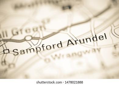 Sampford Arundel. United Kingdom on a geography map