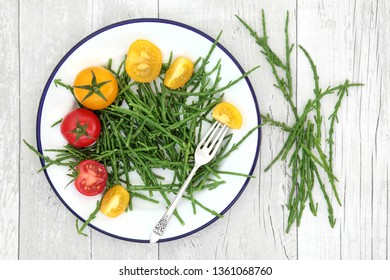 Samphire health food sea vegetable with yellow and red tomatoes on a metal plate with old silver fork, high in antioxidants, fucoidans, dietary fiber and calcium. Salicornia europaea