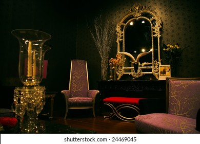 The sample of chic, magnificent and expensive furniture set at a furniture exhibition
