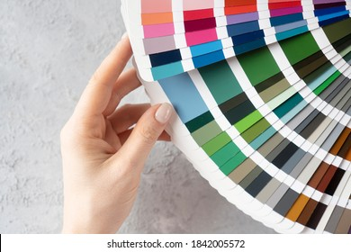 Sample colors catalogue background. Choosing color for wall painting.