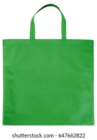 Sample green non-woven bag isolated on white