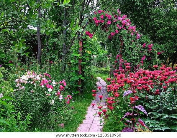 Sample Landscape Design Private Garden Stock Photo Edit Now