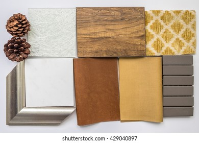 The sample of material color boards for interior design ideas,Yellow Color Schemes