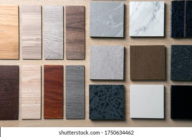 Sample of materials construction on wood background. Materials use for Interio designer. Home construction decorate room with luxury constructions set. Sample of Concretes and Wood laminate vinyl. - Shutterstock ID 1750634462