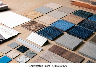 Sample of Materilas disign with stanless steel, carpet, wood, vinyl, curtain and laminate. Home Renovation with construction materials.