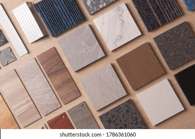 Sample of Materilas disign with stanless steel, carpet, wood, vinyl, stone. Home Renovation with construction materials.