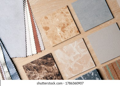 Sample of Materilas disign withcurtain and stone. Home Renovation with construction materials.