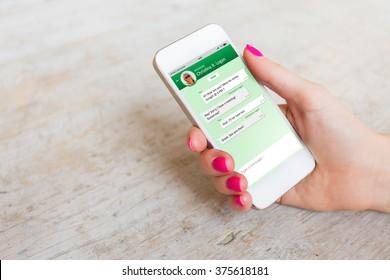 Sample messaging app on smartphone