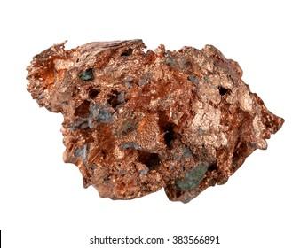 Beispiel für natives Kupfer es ist einzeln auf weißem Hintergrund