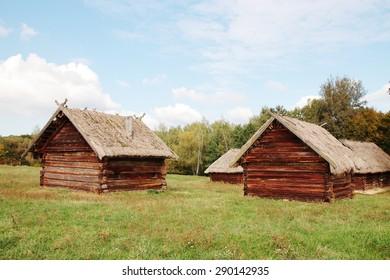 "Sample of old  cattle barn Ukraine in ""Pirogovo"" museum in Ukraine"