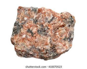 Sample of pink granite it is isolated on a white background