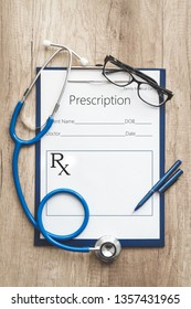sample of prescription or recipe for drug and pills
