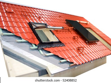 sample roof with material layers, window and solar panel