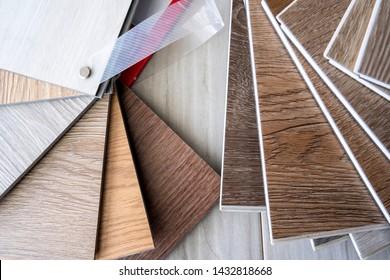 Sample stack of vinyl floor tiles for interior designer and customer choosing for flooring decorate