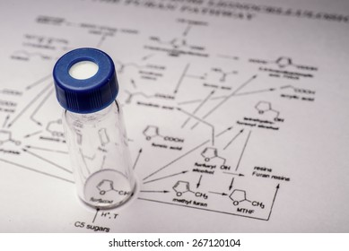 Sample vial on paper with chemical formula
