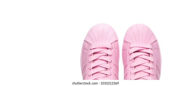 Sample is for women's sports shoes.Shoes on a white background. The place to insert the text.