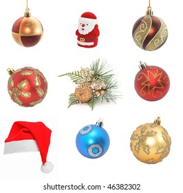 sampler of christmas decoration isolated on white