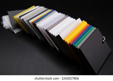 Sampler, color guide Color guide on a dark background.